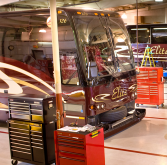 Inside Elite Coach garage