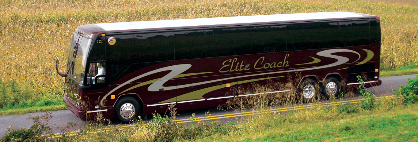 Elite tour bus on a country road