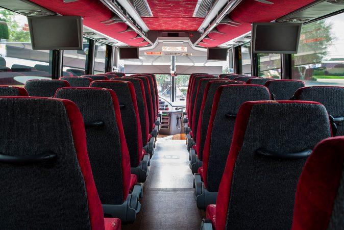 Interior of tour bus
